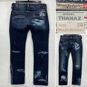 Diesel Thanaz Mens 28 x 30 Distressed Destroyed Acid Treated Straight Leg Jeans